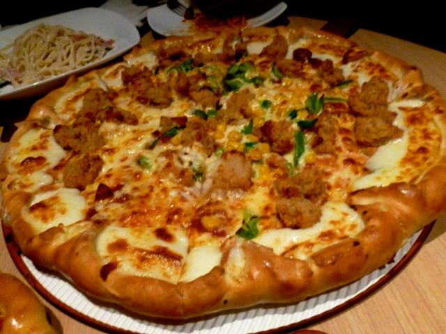 popcorn chicken pizza
